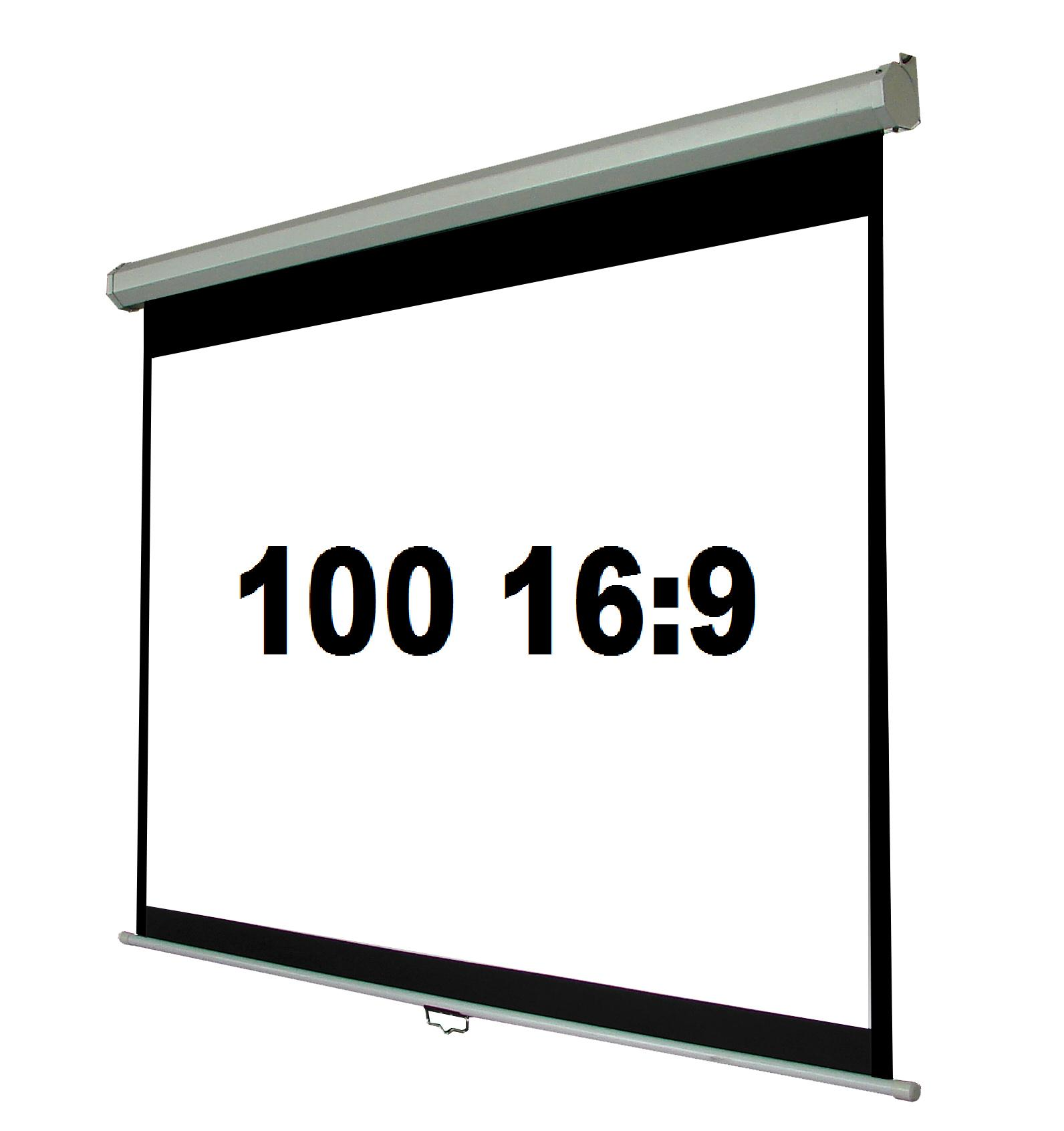 100 16 9 manual pull down projection screen tv1602 100 for Pull down screen door