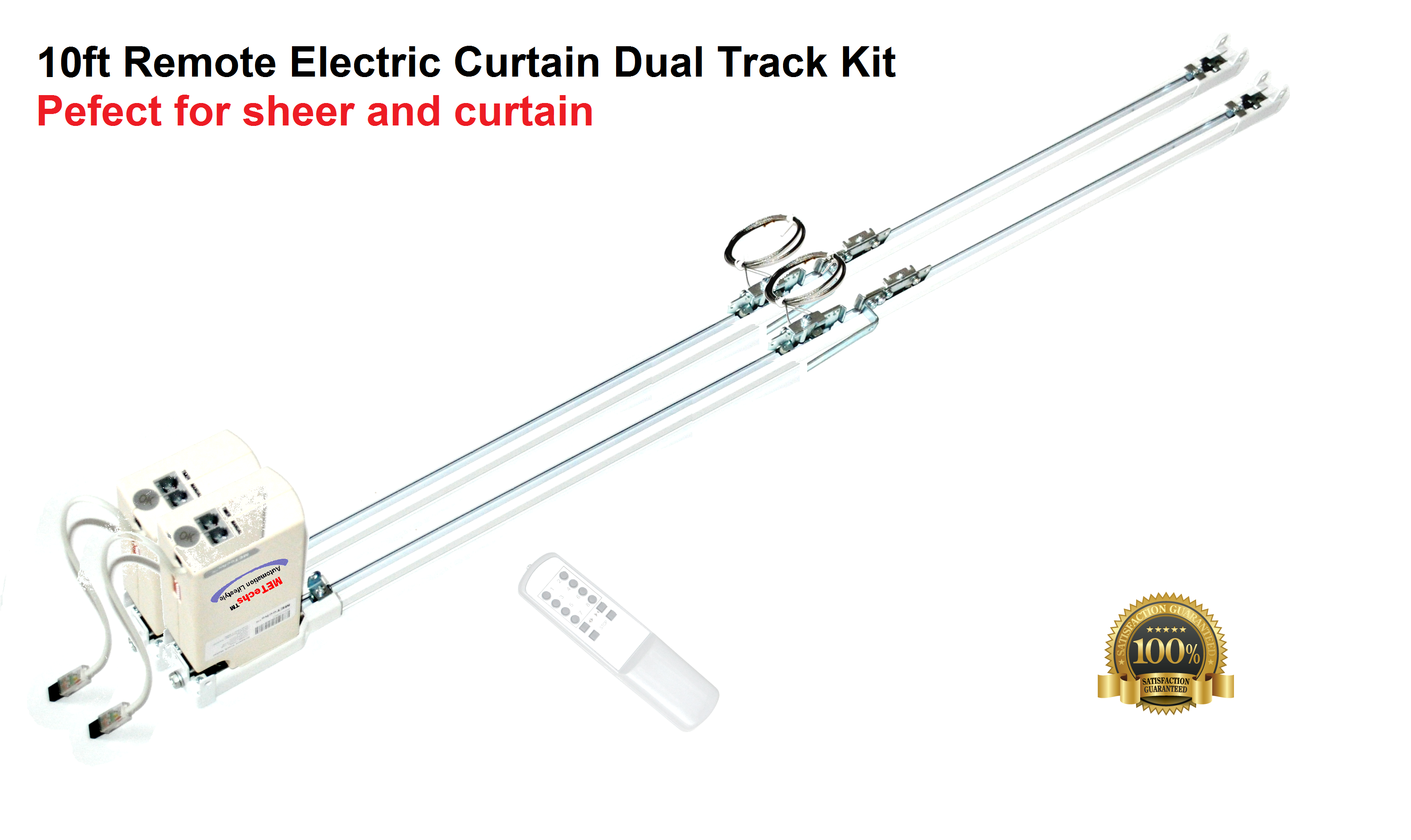 10ft Remote Electric Curtain Dual Track CL200T3M Dual