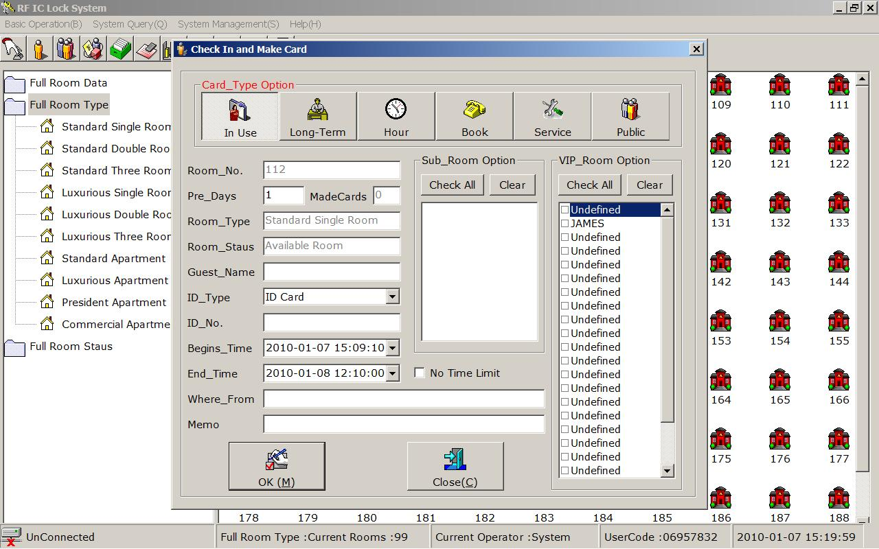Hotel Front Desk Management Software Encoder And