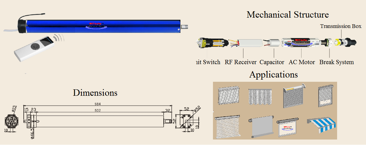 Remote Control RF Remote Tubular Electric Motor CL845E-3017 RF ...