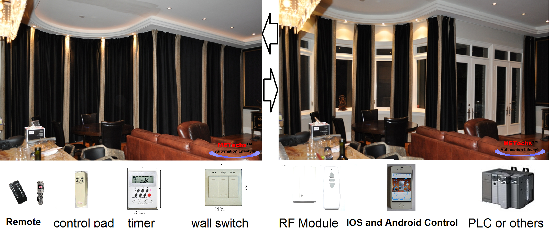 16ft Window Curtain Remote Controlled Motorized Electric